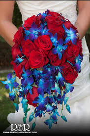 Blue And Red Flower Bouquet For A Patriotic Americana Wedding