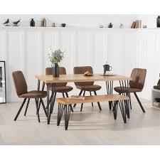 essgruppe hinnenk mit 2 stühlen und 1 bank brayden studio stuhlfarbe bunt rustikal