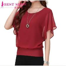 New Womens Tops Fashion 2016 Women Summer Chiffon Blouse Plus Size Ruffle Batwing Short Sleeve Casual