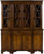 Breakfront Vs China Cabinet by Thomasville Flame Mahogany Chippendale Style Lighted Breakfront