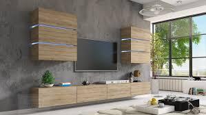 wohnwand sonoma eiche matt 332 cm mediawand medienwand design modern led beleuchtung hängewand hängeschrank tv wand shine sigma shadow