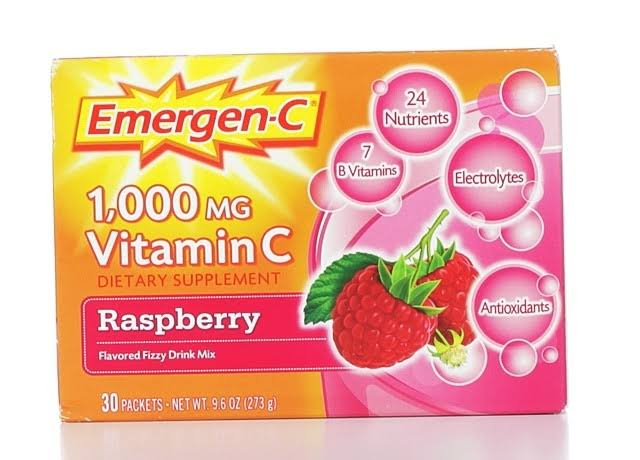 Emergen-C Flavored Fizzy Drink Mix Vitamin C - Raspberry, 30pk, 1000mg