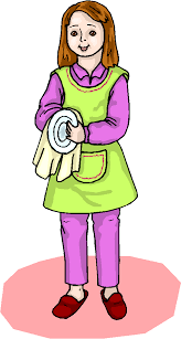 Girl Wash The Dishes Clipart