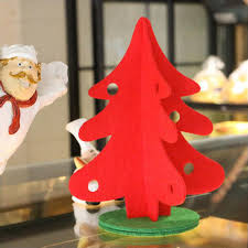 4pcs Lot Green And Red Artificial Christmas Trees Decorations With Non Woven Fabrics Cushion