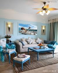Decoration Ideas Interior Apartment Exciting In Living Room With Stripes Fabric Sofa And Blue Wood Coffee Table Also Brown Textured