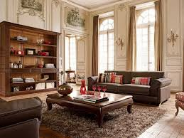 Dark Brown Leather Couch Living Room Ideas by Rustic Living Room Design With High Ceiling Vintage Furniture