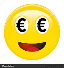 Euro Smiley Emoticon Yellow Laughing Emoji Black Eur Symbols Place Stock Vector