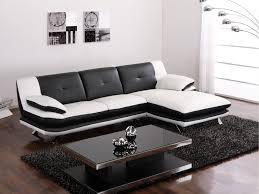 canap noir et blanc canapé d angle trikala en simili bicolore noir et blanc angle droit