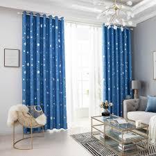 fenstervorhang gedruckt moon solid vorhang vorhänge wohnzimmer schlafzimmer vorhang ösen kinderzimmer 100x250cm blau