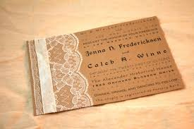 Make Your Own Rustic Wedding Invitations Template Mixed With White Lace And Satin Ribbon Decoration Beautify Sweet Brown Homemade Vintage