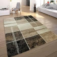 designer teppich kariert in marmor optik meliert braun beige schwarz preishammer grösse 240x340 cm