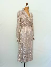 1970s Silver Sequin Disco Dress Vintage 70s Glam Ruffle