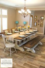 Farmhouse Dining Set Solid Wood Trestle Style Table With Matching Bench This Particular Is An Impressive 9 Long And Wide A