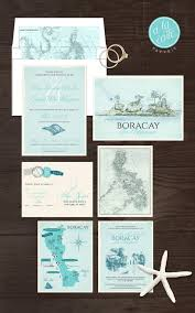 Destination Wedding Invitation Boracay Island The Philippines Filipino Blue Bilingual Illustrated Deposit Payment