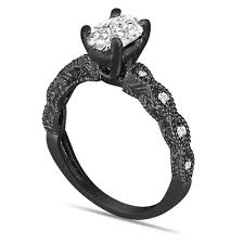 Oval Diamond Engagement Ring Egl Certified 108 Carat Vintage Style 14K Black Gold Or White