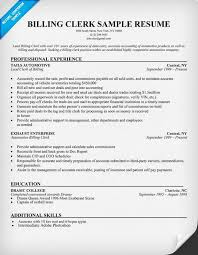 Billing Clerk Resume Sample