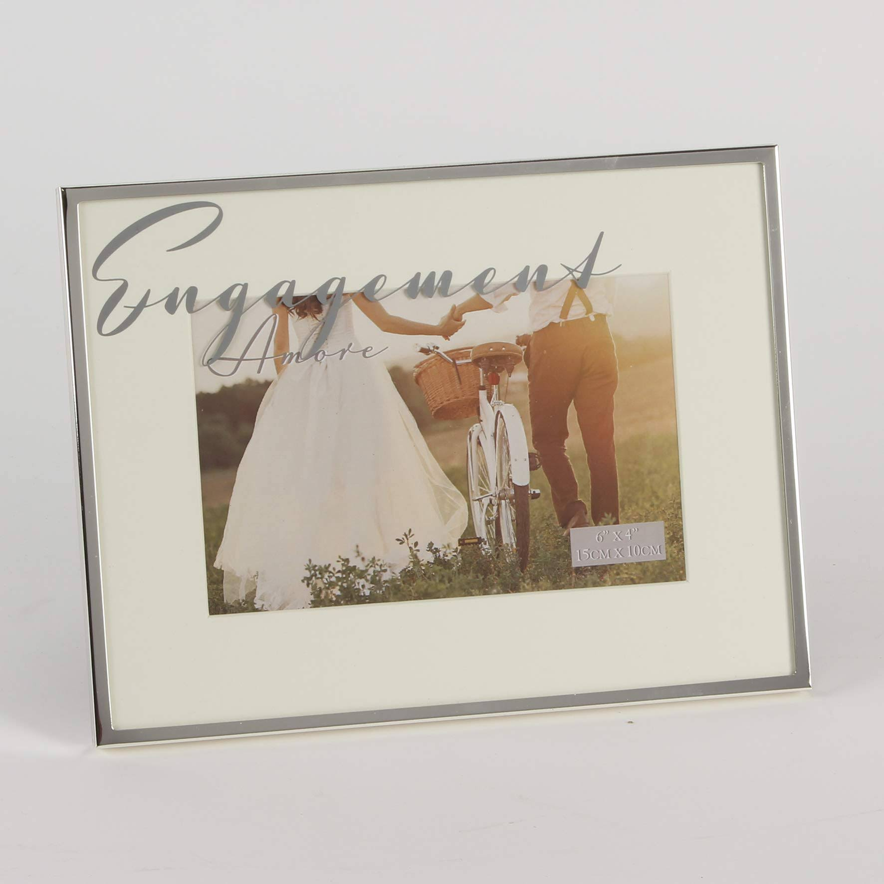 Amore Silver Plated Engagement Frame - 6 x 4 Inches