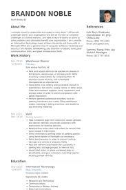 Warehouse Job Resume Sample 12 Amazing Chic Worker Samples VisualCV Database