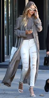 how to wear white jeans in the winter celebrities in white jeans