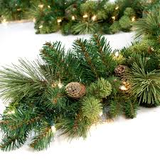 9 Ft Pre Lit Slim Christmas Tree by Classic Pine 9 Ft Pre Lit Garland Hayneedle