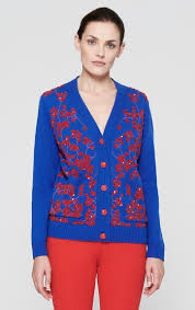 Wool Cashmere Embroidered Cardigan