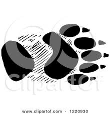 Sand Dune Stickers 1220930 Clipart Of Black And White A Bear Front Foot