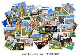 Pile Of Photos With Travel Destinations From All Over The World Isolated On White