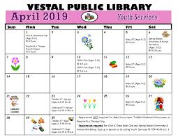 April 2019 Calendar-page-0 | Vestal Public Library Readership And Building Traducetur Omnium Translation Finder Paper Version Kipdfcom Eluxury Coupon Code 100 Off Mattress Discount Fidelity Premium Responsive Joomla Theme Free Demo Science Sort Of Podbay The Best Scheels Coupons Printable Wanda Website Bg News April 18 1975 City Of Dafield 262 6466220 Common Council Meeting Midnight Delivery Promo Code Cluedupp Saturdays Deals Not Just Black Friday Leftovers 2019 Summer Collection Folio Society Devotees Librarything