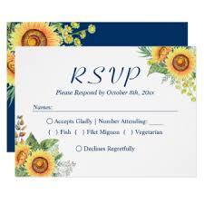 Sunflowers Yellow Navy Blue Rustic Wedding RSVP Card