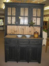 Barn Red Pine Hutch With Stars Primitive Country Kitchen Hutches