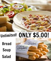 Olive Garden Unlimited Soup Salad and Breadsticks Lunch bo