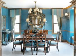 Incredible Blue Dining Room Decors With Antique Shade Chandelier Over Vintage Table For 6 As Well Homemade Curtains And Valance