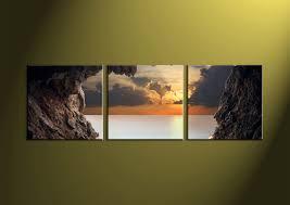 Home Decor 3 Piece Wall Art Ocean Multi Panel Scenery Photo Canvas