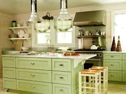Light Green Painted Kitchen Cabinets Sweet L Shape Decoration Cabinet Along White Laminate Island