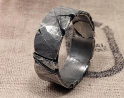 8 12mm Viking Wedding Ring Mens Rugged Band Silver Pewter Guys