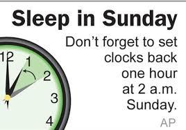 Clocks turned back Saturday night Sunday morning for Daylight
