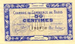 chambre du commerce blois billets de nécessité 1914 1918 blois loir et cher chambre