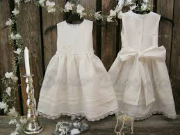 Beach Flower Girl Dress Rustic Girls Off White Linen Country Barn Wedding Elegant Simplelinen