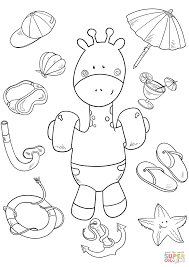 Click The Baby Giraffe On Beach Coloring Pages