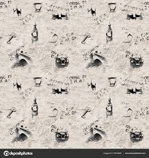 Vintage Black And White Newspaper London Grunge Background Seamless Texture With Hand Drawn Symbols Of England Big Ben Westminster Bridge Tower Thames