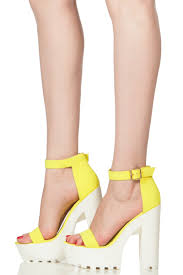 neon yellow faux nubuck ankle strap lug sole chunky heels