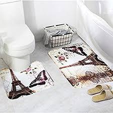 Paris Eiffel Tower Bathroom Accessories by Amazon Com Homespun Set Of 3 Piece Black Paris Eiffel Tower