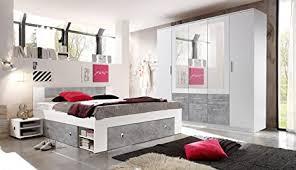 moebel guenstig24 de schlafzimmer komplett set 4 tlg stefan bett 180 kleiderschrank 212 cm nachtkommoden weiß grau beton