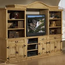 Rustic Western Pine Entertainment Center With Twisted Metal Pulls