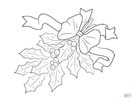 Click The Christmas Holly With Bow Coloring Pages