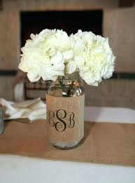 Centerpieces Using Burlap Wedding Decorations And Lace Monogram Mason Jar Sleeve Table