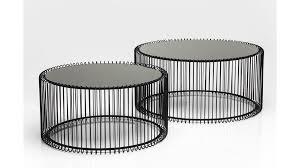 kare design couchtisch set wire als wohnzimmermöbel schwarzer stahldraht glas zweiteilig