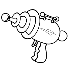 Minimalistic Ray Gun Logo Black White Line Art Coloring Book ColouringSVG 19K
