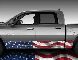 100 Camo Wrap For Truck American Flag Waving Rocker Panel Graphic Decal Kit