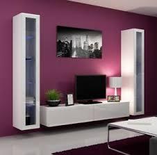 details zu wohnwand lucas 5 tv wand schrankwand hängend hochglanz möbelset wohnzimmer m24